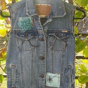Women's Up-cycled Denim Vest Size Small